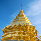 Golden stupa in a Buddhist temple in Thailand