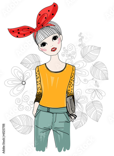 Fashion girl with a bow