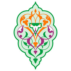 Arabic oriental ornament, floral pattern motif, arabesque.