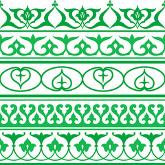 Arabic oriental ornament, seamless decorative strip, pattern.