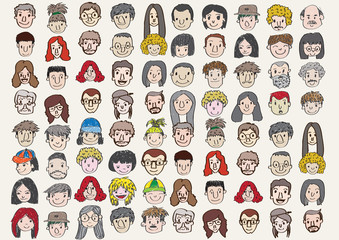 Face people sketch Crowd of funny peoples