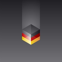 Germany cube flag black background vector