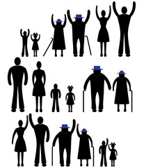 Silhouettes of woman man kid  family vector illustration.
