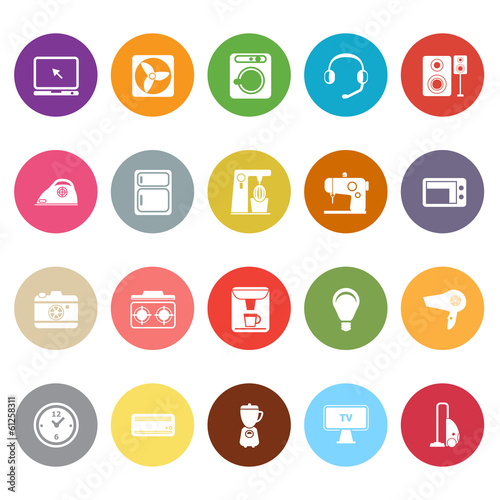 Electrical machine flat icons on white background