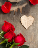 paper heart on the wooden background