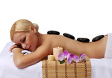 Fototapety Spa Stone Massage. Beautiful Blonde Getting Hot Stones Massage