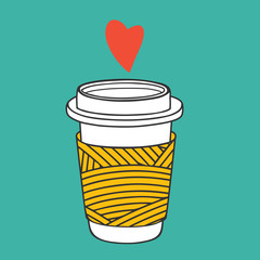 Cute coffee paper cup. Vector illustration for coffee lovers