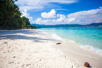 Perfect tropical beach with turquoise water and white sand