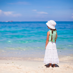 Back view of adorable little girl on tropical beach