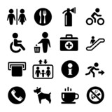 International Service Signs icon set poster