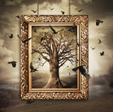 Magic tree with birds in frame