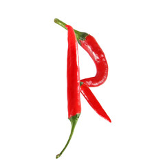 Font made of hot red chili pepper isolated on white - letter R