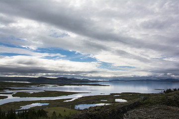 Landscape from lake Thingvallavatn in Iceland. Thingvellir