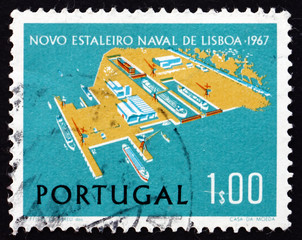 Postage stamp Portugal 1967 Lisnave Shipyard at Margueira