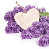 Beautiful Bunch of Lilac with wooden heart