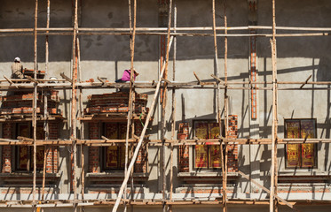 Wooden scaffolding to build wall structural