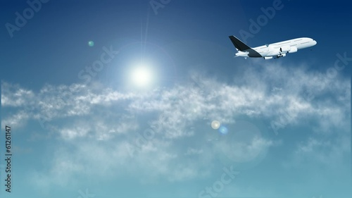 Airplane in sky With Clouds and Sun