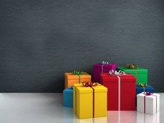 a lot of bright colorful gifts for birthday or christmas