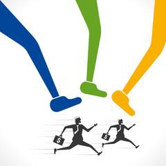 big foots hit on running businessmen concept vector
