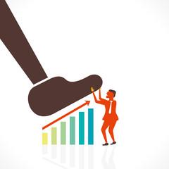 men save business growth graph concept vector