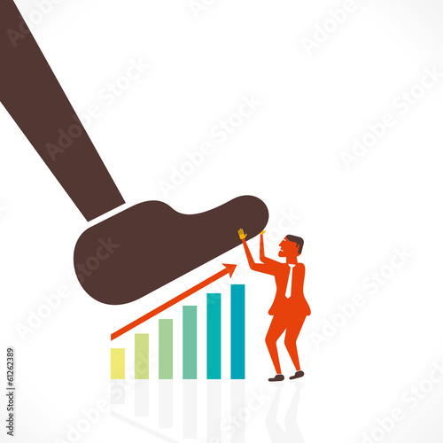 men save business growth graph concept vector