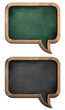 blackboards or chalkboards set in shape of speech bubble isolate