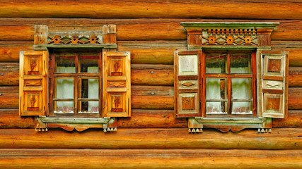 Two wooden window