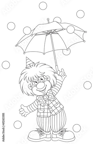 Clown with an umbrella