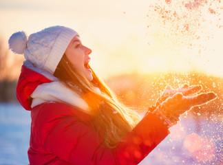 Beauty Winter Girl Having Fun in Winter Park