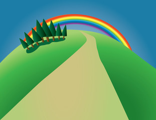 hill with trees and rainbow