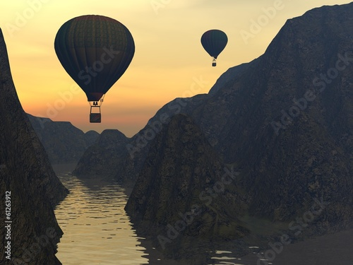Two hot-air balloons