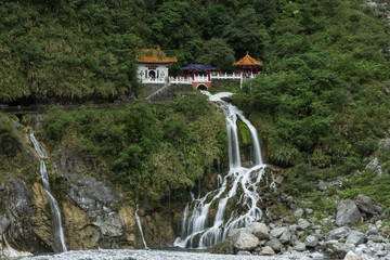 Waterfall and Eternal Spring Shrine at Taroko, Taiwan