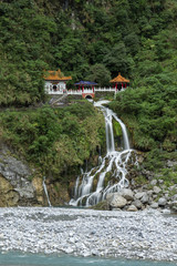Waterfall, river and Eternal Spring Shrine at Taroko, Taiwan