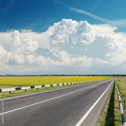 asphalt road goes to cloudy horizon