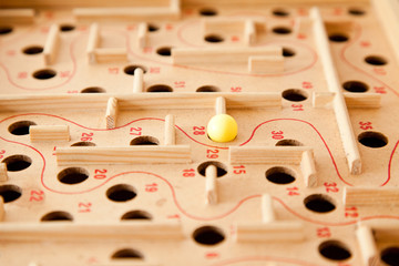 Labyrinth game, selective focus on the ball