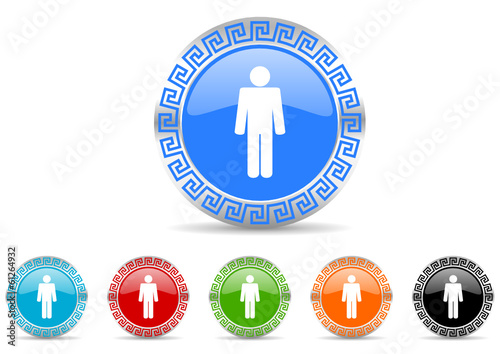 male gender icon vector set