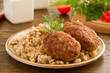 Cutlet with buckwheat with mushrooms.
