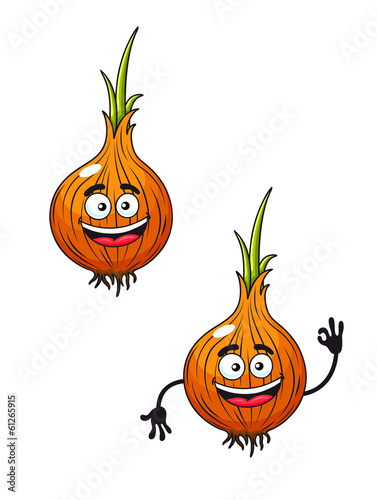 Cartoon happy smiling fresh onion