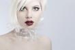 Young futuristic woman model in plastic