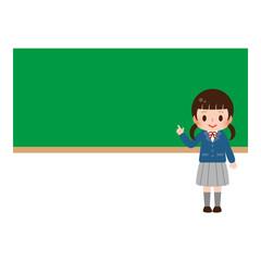女子学生 黒板