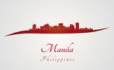 Manila skyline in red