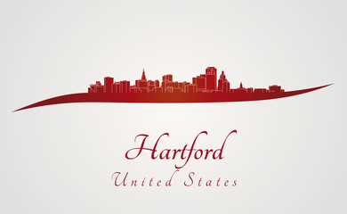 Hartford skyline in red