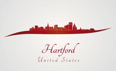 Hartford skyline in red