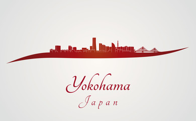 Yokohama skyline in red