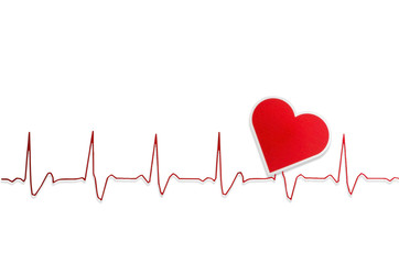 Heart and electrocardiogram :clipping path