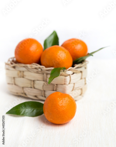 fresh orange mandarins with leafs in basket