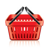 Empty shopping basket isolated on white vector