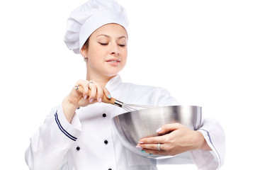 Female chef with whisk