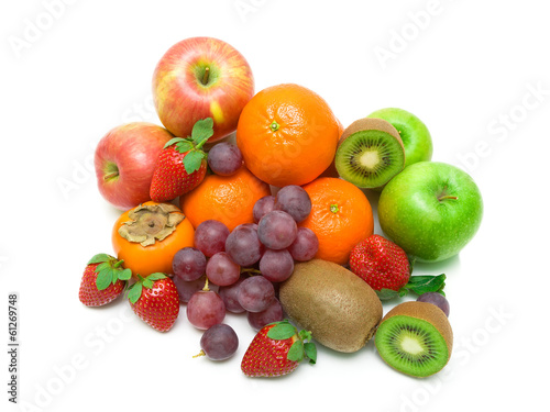 fresh juicy fruits on white background
