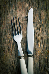 silver fork and knife